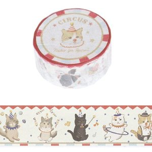 ネコがいっぱいマスキングテープ CIRCUS 20mm幅 ST-MT-009 猫柄|とことこサーカス...