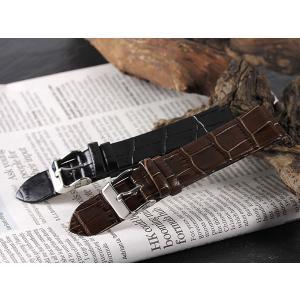 本革 カーフ型押しクロコ メンズ 腕時計 替えベルト PLCRSY30-20-BK ブラック ブラック|manzoku-tonya