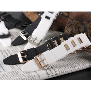 シリコン×ステンレス メンズ 腕時計 替えベルト RBSIL30-22-WHGD ホワイト×ピンクゴールド ホワイト|manzoku-tonya