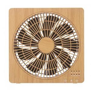 卓上扇風機 デスクファン USB オフィス おしゃれ DCモーター搭載ボックスファン ナチュラルウッド 木目調|maone