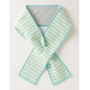 クールスカーフ 冷感 夏 熱中症対策 タオル 首もとひんやりクールスカーフ ブルー×イエロー|maone