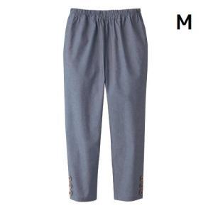 ボトムス レディース 夏 ファッション 綿100%涼やかダンガリー7分丈パンツ ネイビー M|maone