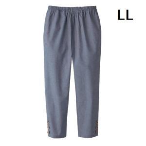 ボトムス レディース 夏 ファッション 綿100%涼やかダンガリー7分丈パンツ ネイビー LL|maone