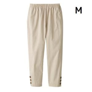 ボトムス レディース 夏 さらさら 綿100%涼やかダンガリー7分丈パンツ ベージュ M|maone