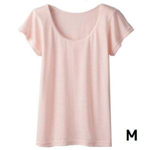 インナー レディース 半袖 下着 さらさらシルク混フレンチ袖インナー ピンク M|maone