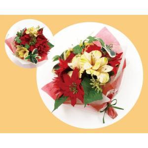 ブーケ 造花 フェイクフラワー CTポンヌフブーケ クリスマスカラー L|maone