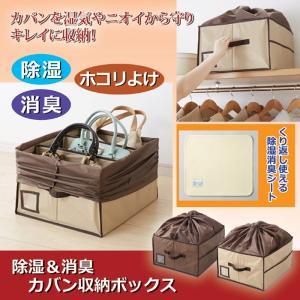 バッグ 収納 ボックス 除湿 消臭カバン収納ボックス ベージュ|maone