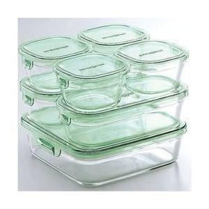 イワキ 保存容器 耐熱ガラス容器 iwaki パイレックス パック&レンジシステムセット グリーン PST-PRN-G7 送料無料|maple517