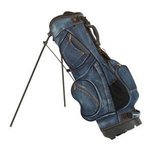 19ゴルフ デニム キャディバッグ スタンド インディゴブルー 色落ち加工 8.5型 ゴルフ用品 お...