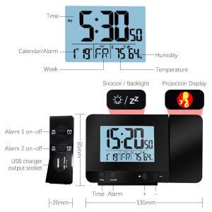 投射時計 目覚し時計、二重警報時計が付いている Protmex PT3531 デジタル、屋内温度計、USB の電話充満 mapletreehouse