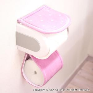 オカ 乾度良好 水玉 トイレットペーパーホルダーカバー (ピンク)