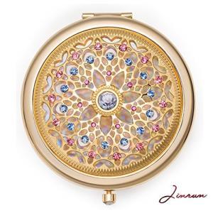 女性用のユニークなギフト / ジンヴァン 24kゴールド電気メッキメイクアップミラー : 究極の贅沢な丸型化粧鏡 ダイアモンド付き / 丈夫な持ち運び|mapletreehouse