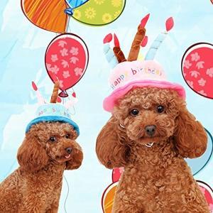 MinniLove ペット用装飾帽子 ケーキ型誕生日帽子 かわいい 装飾 猫 犬 色んなペットに適合 調節可能 超可愛い 心地よい (ピンク&ブルー)|mapletreehouse