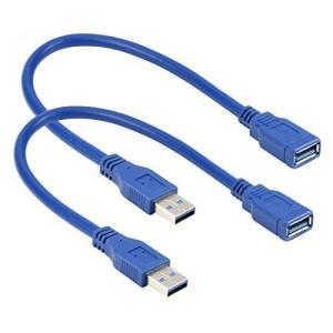 スーパースピードUSB 3.0タイプAオスtoメス延長ケーブルコード 1FT 2-PACK ブルー 14-010-057-2|mapletreehouse