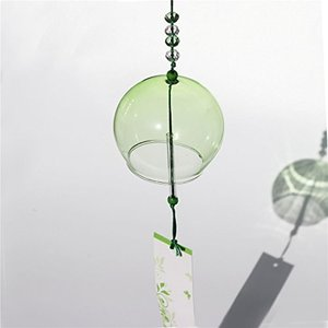 Waltz&F手描く涼しい緑 ガラス風鈴涼しい夏 風鈴 納涼 クリスタルビーズ付き インテリア ウインドチャイム 玄関チャイム|mapletreehouse