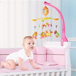 ベッドメリー オルゴール モビール ミュージックボックス 知育玩具 赤ちゃん 音楽回転 簡単に取付け 睡眠サポート ぬいぐるみ 4モード(熊) mapletreehouse