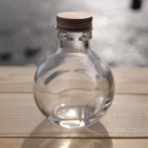 ハーバリウム 用 ネコ 瓶(サークル・スキットル) 100ml 1本 選べるキャップ付き(ゴールド・シルバー・ピンクゴールド)空ビン ボトル(キット オイル用)