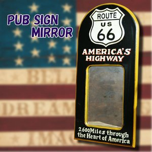 アメリカ雑貨 アメリカン雑貨 PUB SIGN MIRROR パブサインミラー  ROUTE66|marblemarble