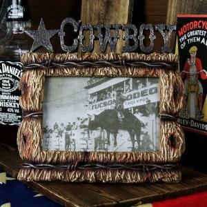 アメリカ雑貨 アメリカン雑貨 アンティークな雰囲気 レジンフォトフレーム COWBOY カウボーイ 有刺鉄線|marblemarble