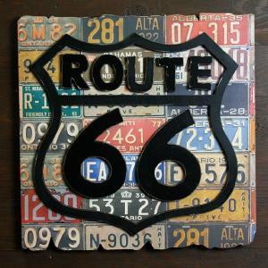 ROUTE66 ライセンスプレートバックウッドサイン 木製看板 アメリカン雑貨|marblemarble