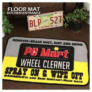 アメリカン雑貨 フロアマット PC MART WHEEL CLEANER ブラック/イエロー 玄関 トイレ|marblemarble