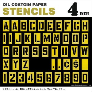 ステンシルプレート オイルコート紙 4インチ アルファベット 数字 記号 入り // ペーパーステンシル / 世田谷ベース / 英字 / アメリカ製 / HANSON|marblemarble|05