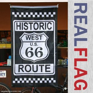 リアル・フラッグ 旗 ポリエステル製 ROUTE 66 ルート66 チェッカー柄 // アメリカン雑貨 ガレージ インテリア メール便対応|marblemarble