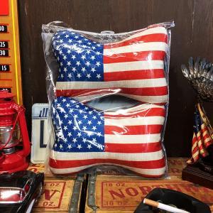 USA柄ネッククッション 2個セット // 車 インテリア 星条旗 アメリカン雑貨|marblemarble