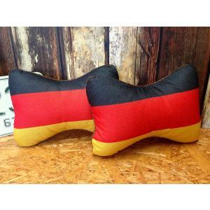 国旗柄ネッククッション ドイツ 2個セット // 車 インテリア アメリカン雑貨|marblemarble