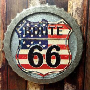 ROUTE 66 アメリカンスタイル ウォールデコ // ボトルキャップ 星条旗 標識 TT60178|marblemarble