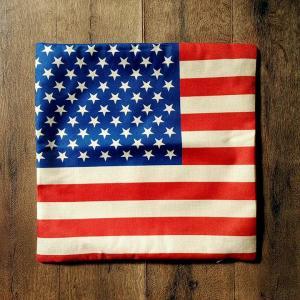 クッション カバー 45 x 45cm用 #001 星条旗 [ インテリア 麻 メール便可 ]|marblemarble