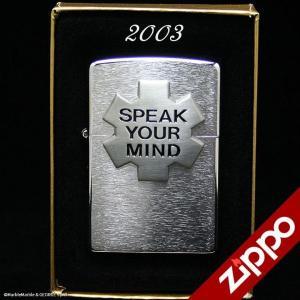 Zippo(ジッポー)ライター Marlboro(マルボロ)2003年 スイス限定品 SPEAK YOUR MIND ブラッシュ・クローム // アメリカン雑貨 / 喫煙具 / ジッポ marblemarble