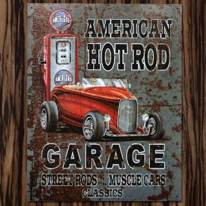 ブリキ看板 TINサイン AMERICAN HOTROD GARAGE アメリカ雑貨 marblemarble