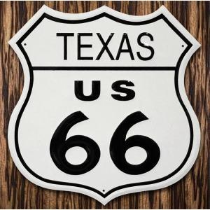 ブリキ看板 TINサイン ROUTE66 US TEXAS テキサス州 標識型 marblemarble