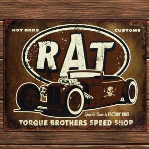 ブリキ看板 TINサイン RAT TORQUE BROTHERS SPEED SHOP アメリカ雑貨 marblemarble