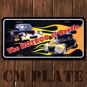 ナンバープレート型ノベルティCMプレート #011 ホットロッド of ビートル 車2台 黒×フレア|marblemarble