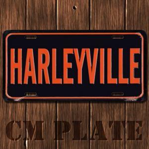 ナンバープレート型ノベルティCMプレート #014 ハーレー VILLE 黒×オレンジ|marblemarble