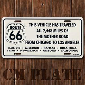 ナンバープレート型ノベルティCMプレート #024 ルート66 ALL 2448 MILES..標識+各州名入り|marblemarble