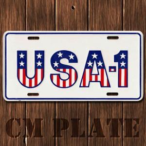 ナンバープレート型ノベルティCMプレート #051 USA - 1 白×国旗文字|marblemarble