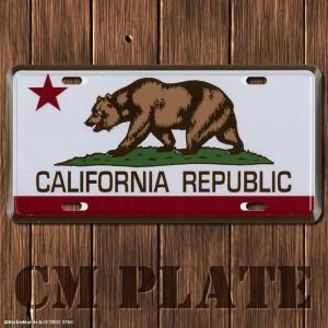 ナンバープレート型CMプレート #206 CALIFORNIA REPUBLIC カリフォルニア共和国 // アメリカ雑貨 インテリア雑貨 ガレージ雑貨 メール便対応|marblemarble