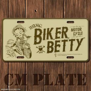 ナンバープレート型CMプレート #221 ベティ BIKER MOTOR CYCLE // アメリカ雑貨 インテリア雑貨 ガレージ雑貨 メール便対応|marblemarble