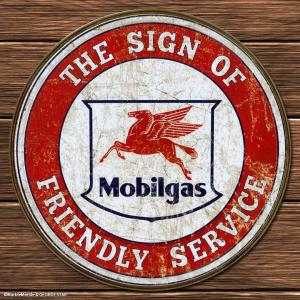 ブリキ看板 #531 Mobil - Friendly Service // モービル 丸型 TINサイン アメリカン雑貨 輸入品 ノスタルジック メタル サイン marblemarble