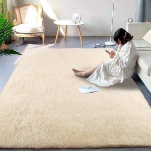 ラグ カーペット 洗える ラグマット 8色選べる 絨毯 防ダニ 滑り止め付き160×200cm 四季通用 ふわふわ 折り畳み 長方形 センターラグ ベージュ march-shop
