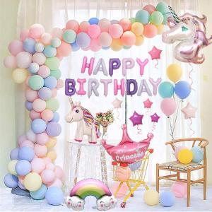風船 誕生日 飾り付け 3D ユニコーン パーティー風船 セット ハッピーバースデーパーティー女の子と男の子のためのユニコーンバルーン誕生日装飾セット|march-shop