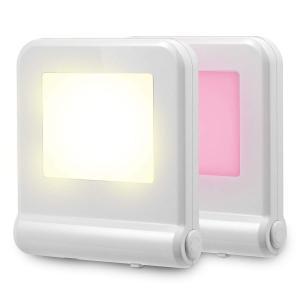 Fosmon (2個セット) LEDナイトライト、夜間センサーライト 人感、足元灯、常夜灯、枕元ライト コンセント挿入式 温白色/多色変換可能 明暗センサー 省エネ 子供 march-shop