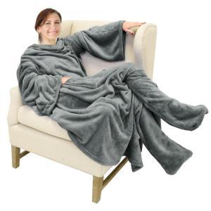着る毛布 足 袖 ポケット付き 防寒 ひざ掛け 掛け毛布 軽量 着れるブランケット 暖か ルームウェア 男女兼用 191 x 135cm march-shop