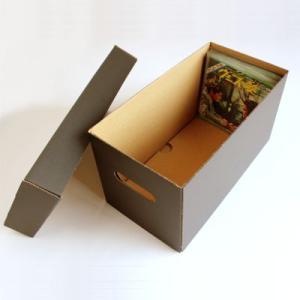 EPレコード用 段ボールボックス 蓋付き 黒 2箱セット/EP-008-BL|margherita