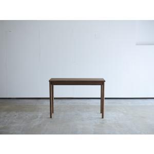 机 学習机 デスク 角脚 引き出し付き W1008 ウォールナット コンソールデスク コンパクト 薄型 テーブル 机 無垢 国産 日本製 /杉工場 木と風|margherita