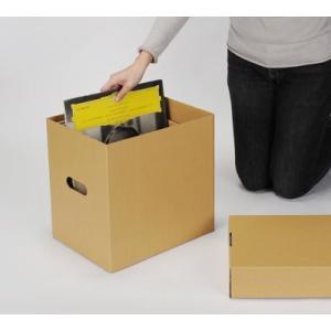 LPレコード収納ボックス LP用 蓋付きBOXセット クラフト茶 5箱セット/LP-030-KR|margherita