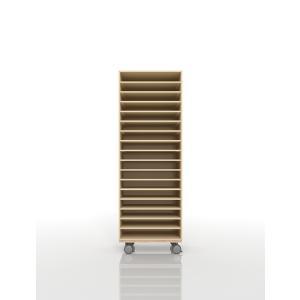 書類ラック A3 キャスター付き 木製 オフィス家具(PNO-A3-17×1・BLC-12-BX×1) margherita